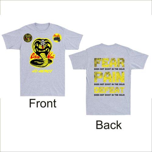 Cobra Kai No Mercy Dojo Karate First Strike 80s Film Back /& Front Men/'s t Shirt