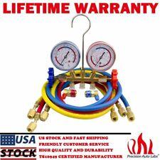 Manifold Gauge Set R134a R12 R22 R502 Hvac Ac Refrigerant With 5ft Charging Hoses