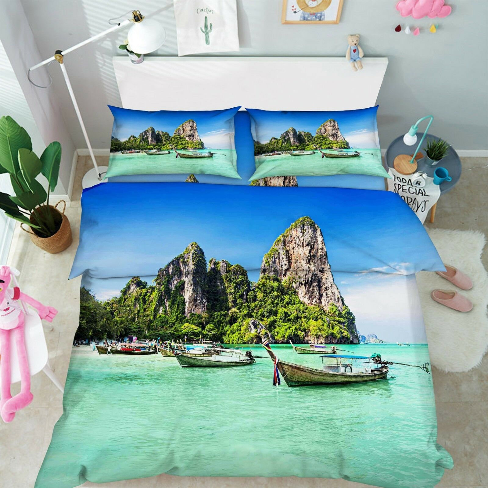 3D Beach Boat Peak 86 Bed Pillowcases Quilt Duvet Cover Set Single Queen King CA
