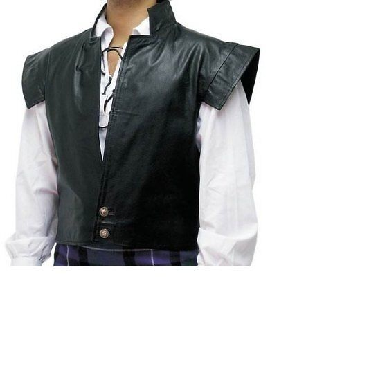 Mens Waistcoat Real Leather LARP Clansman Jacobite Cosplay Vest And Kilt Combo