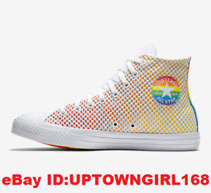 Converse-Chuck-Taylor-ALL-STAR-Hi-Pride-Mesh-Shoes-Rainbow-LGBT-US-Women-Sz-New