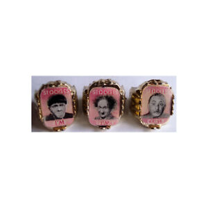 Three-Stooges-Vari-Vue-Flicker-Ring-Set-Only-Known-Pink-amp-White-On-Gold-Bases