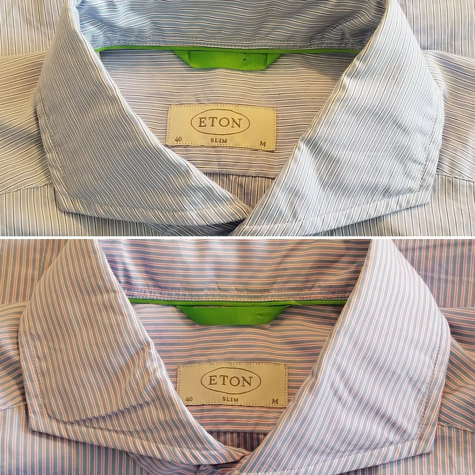 Eton Slim Button Front Spread Collar (Lot of Two) Shirts Mens 40 Medim 15 3 4 LS
