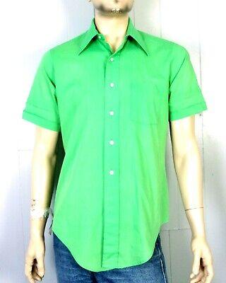 Vtg 60er Jahre Pfeil Kent Leuchtend Limettengrün Ss Schmetterling Kragen-hemd Attraktives Aussehen