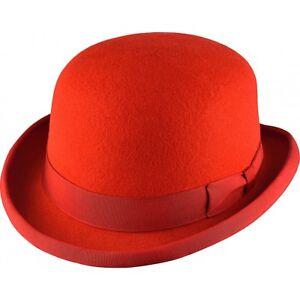 Quality-Red-Wool-Felt-stiff-bowler-hat-Major-Wear-satin-lined-5-sizes