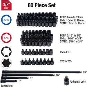 SAE//Metric Sunex 3580 80 Piece 5//16 3//8 Inch Drive Master Impact Socket Set