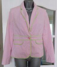 Lilly Pulitzer Seersucker Pink Striped Palm Jacket Size - USA 4 (UK  XS/6)