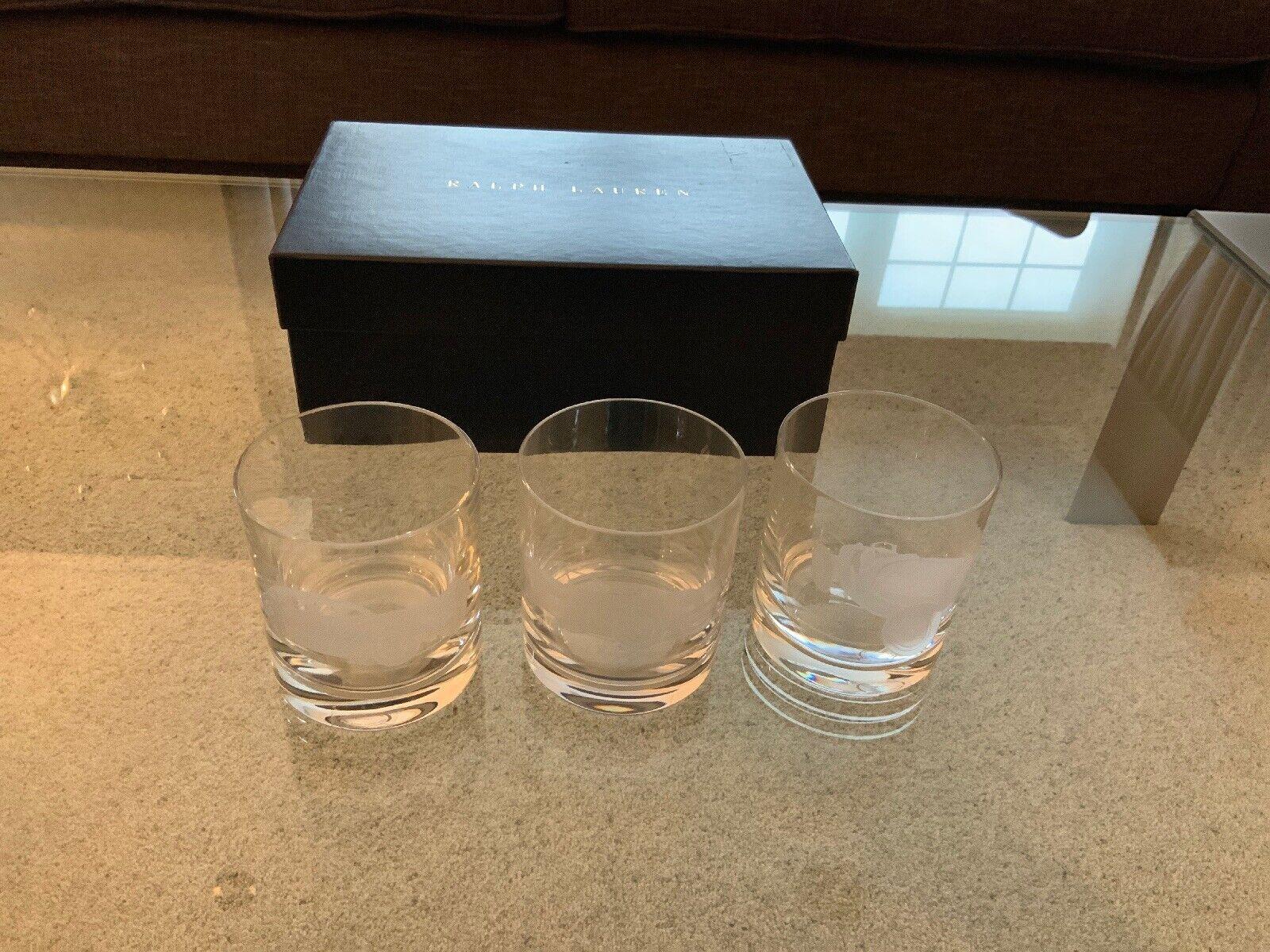 Ralph Lauren Crystal Old Fashioned Vintage Car Set 3 Glasses