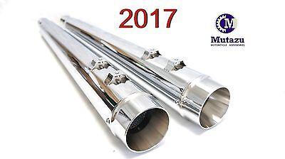 Mutazu Chrome Cannon 4 2 into 1 Muffler Exhaust Set for 95-2017 Harley softail