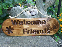22 Welcome Friends Stained Wood Wooden Indoor/outdoor W/rope Hanging House Sign