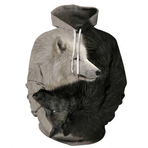 New Hipster Men Women Hoodies 3D Wolf Sweatshirt Pullover Casual Jacket Coat Top