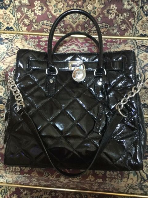 8735d29c0f1f Michael Kors HAMILTON Black QUILTED SHINY PATENT LEATHER TOTE SATCHEL LG  HANDBAG