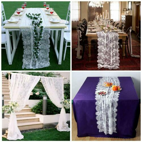 White Lace Table Runner Chair Sash Boho Wedding Party Tablecloth Table Cover by Our Warm