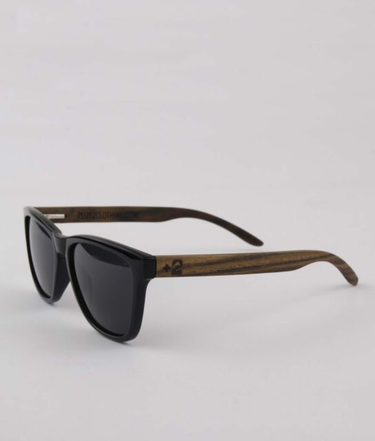 Polarised Sunglasses Bamboo Wooden Frame Smoky Black Lenses