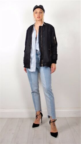 Small Zara Bomber Quilted Bloggers Warm Vented Coat Long Oversized Black Jacket 8aq48wB