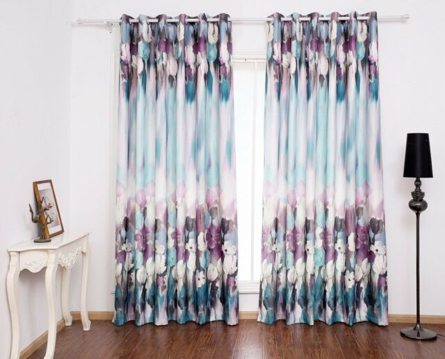 3QMart 2 Panels Blockout Grommet Window Curtains Paint Printed Drapes Eyelet Top