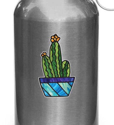 "Potted Cactus Succulent D2 Vinyl Waterbottle Decal ©YYDC 2/""w x 3.75/""h CLR:WB"