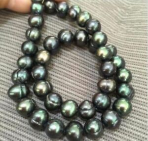 Charming-Genuine-9-10mm-baroque-South-sea-Black-green-Pearl-Necklace-18-039-039
