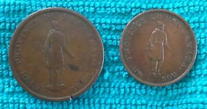 1837 Canada Province Du Bas Half Penny and One Penny Tokens City Bank
