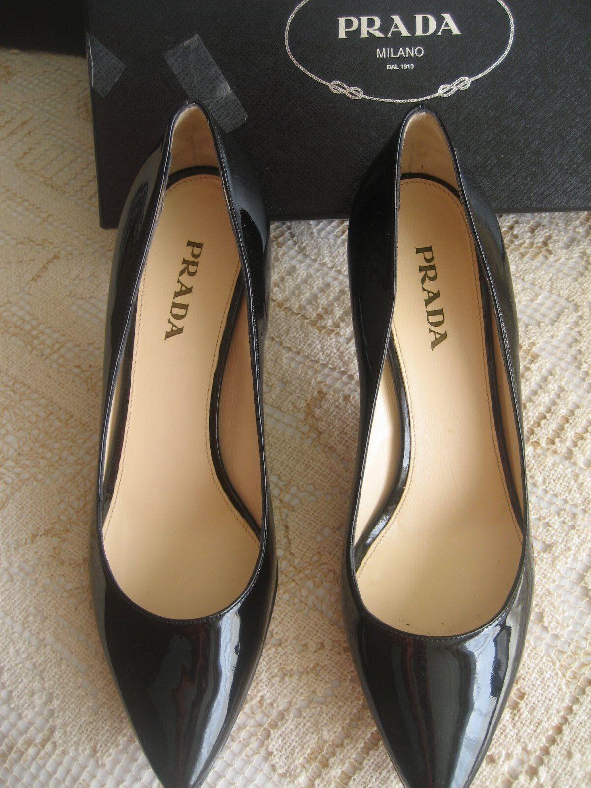 PRADA Classic Black Patent Leather 3  Heels Sz 39 New in Box