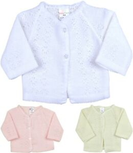 BabyPrem-Baby-Girls-Clothes-Knitted-Pink-White-Cardigan-Cardi-Newborn-0-3m