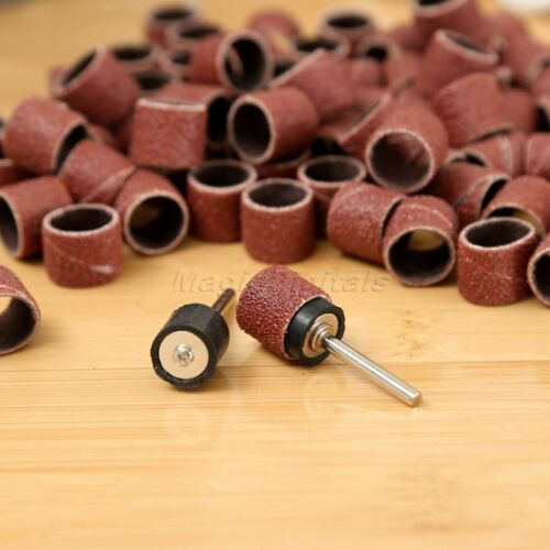 """100pc 1//2/"""" Sanding Bands with 2pcs Sanding Drum Mandrel For Grinder Rotary Tools"""