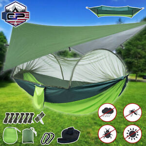Outdoor Portable Camping Hammock with Mosquito Net+Waterproof Rain Fly Tent Tarp