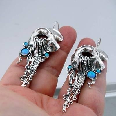 Hadar Designers Israel Handmade Unique Long 925 Sterling Silver Opal Earrings (H