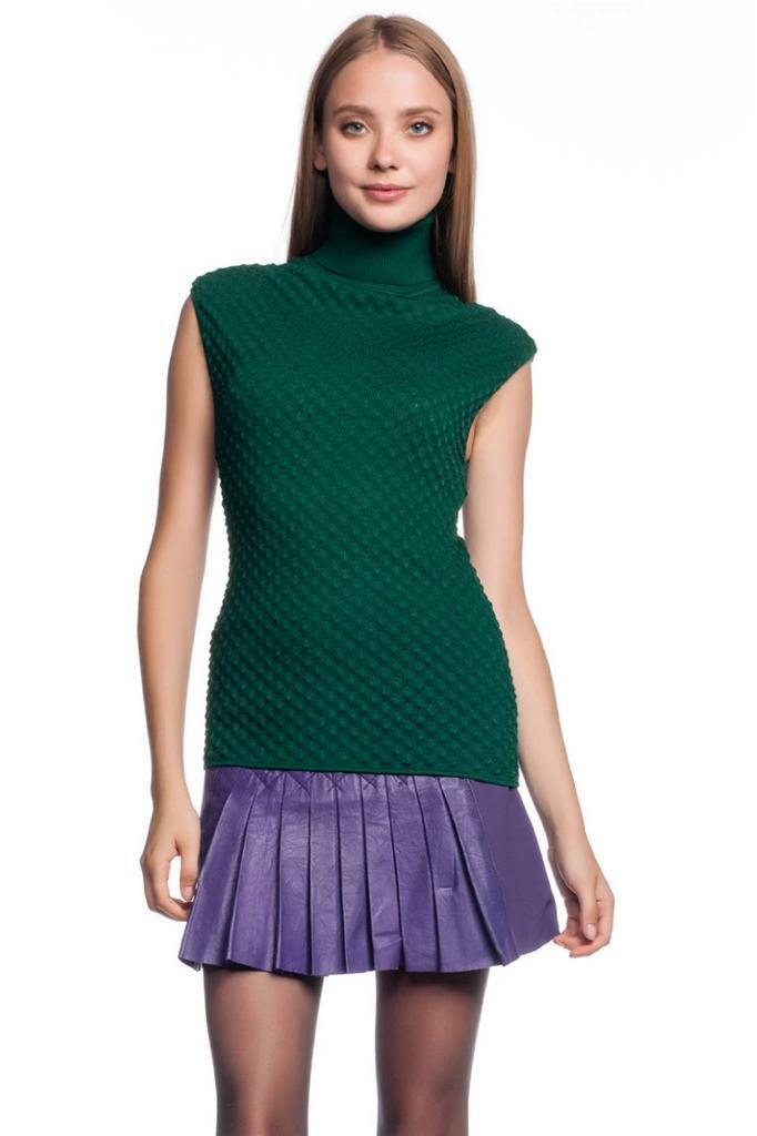 Catherine Malandrino Top JADE Grün ribbed turtleneck cap sleeves knit Tank NEW