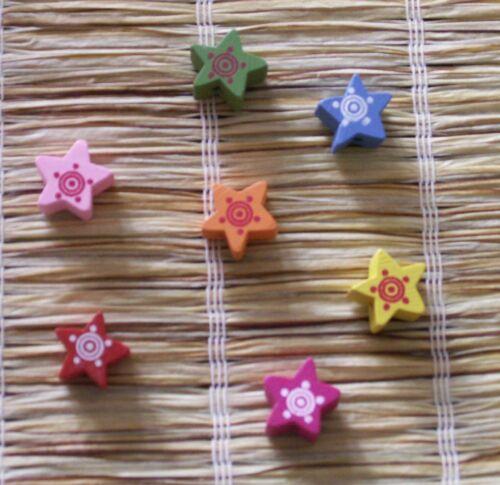 Sterne 15 x 15 mm 15 bunte Holzperlen 0,17 € // Stck.