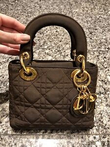 4aaeb2fb56 Image is loading Vintage-Christian-Dior-Brown-Mini-Cannage-Lady-Dior-
