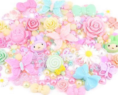 Spring Summer Pastel Cabochon Rhinestone Pearl Set Kit Decoden Kawaii Craft Mix