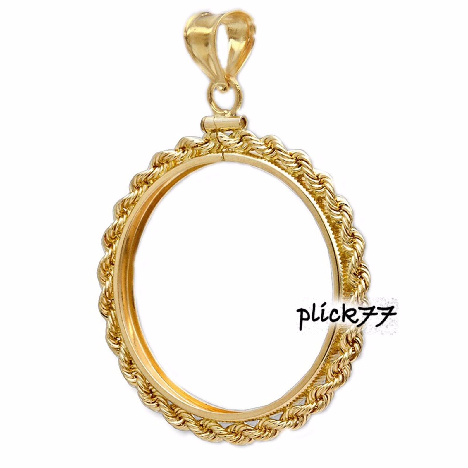 Maria Theresa 14k gold Filled Rope Coin Bezel Frame Mount Pendant
