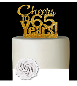 Groovy 65Th Birthday Anniversary Cheers Gold Glitter Cake Decoration Funny Birthday Cards Online Alyptdamsfinfo