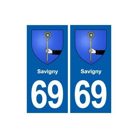 69 Savigny blason autocollant plaque stickers ville -  Angles : arrondis
