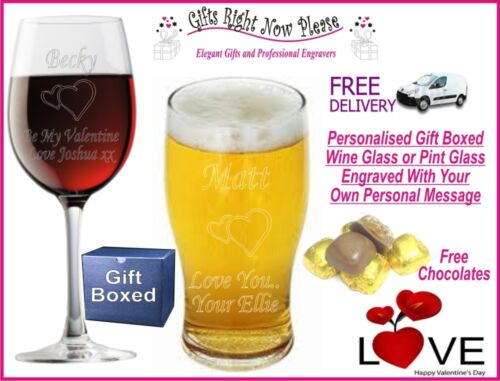 Engraved Valentines Wine or Pint Glass Personalised Romantic  Gift Present