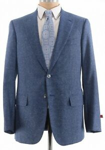 ISAIA-NWT-Sport-Coat-Sz-40R-Blue-amp-White-Summer-Donegal-Wool-Silk-Base-S-3-350