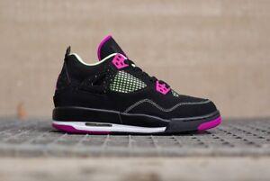 Nike-Air-Jordan-4-GS-Black-Neon-Pink-Size-4Y