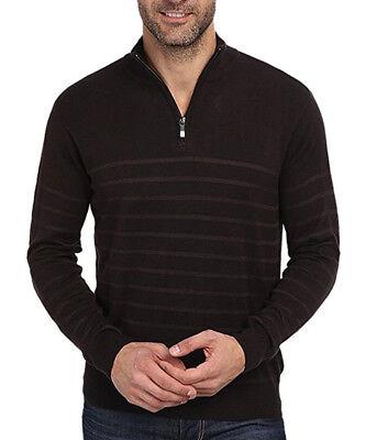 Perry Ellis Mens The Icon Quarter-Zip Long Sleeve Mock Neck Logo Shirt