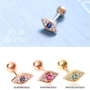 7b5ed8774 14K Rose Gold Ear Piercing CZ Eye Stud Earring 20G Helix Cartilage ...