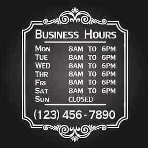 Custom Business Store Hours Vinyl Window Decal X Sticker Sign - Window stickers for business hours