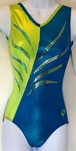 GK-LIME-TURQUOISE-ADULT-X-SMALL-MYSTIQUE-SEQUINZ-GYMNASTICS-TANK-LEOTARD-AXS