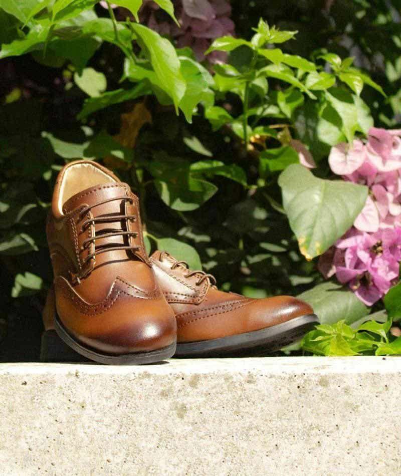 Michigan Flamingo Boys Oxford Lace Up Formal Wedding Tan Brown Shoes Size UK