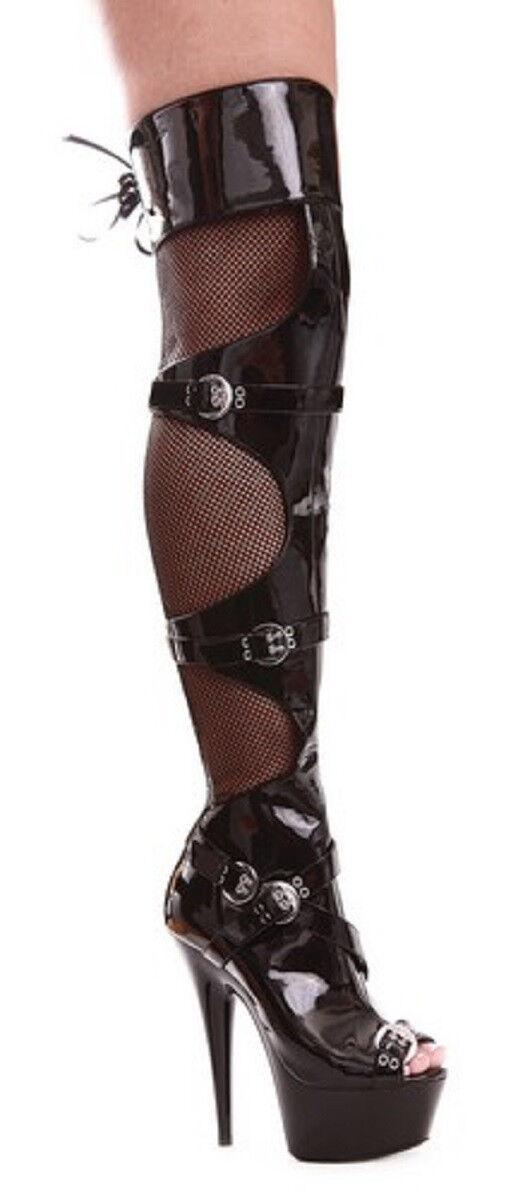 Black Patent Boots Thigh Hi  Peep Toe Buckle Fishnet 6