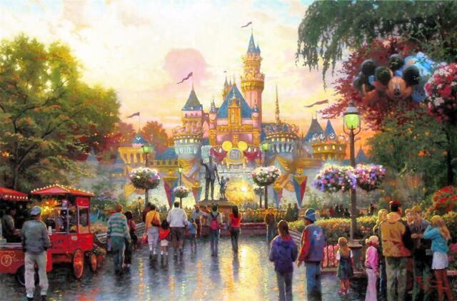 Kinkade Disney Disneyland 50th Anniversary 18x27 S/N Limited Disney Lithograph