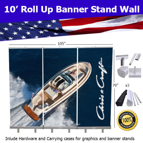 Retractable Roll Up Banner Stand Wall 10/' Trade Show Display FREE SHIPPING