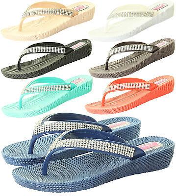 Nuevo para mujer señoras Diamante Plana Verano Sandalia flip flop Playa Cuña Jelly Shoes
