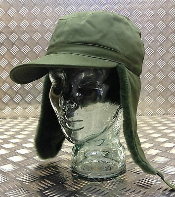 Genuine Swedish Army Green Cold Weather/Dog/Trapper Hat (missing studs)