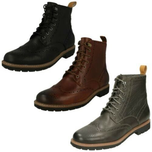 Mens-Clarks Brogue Ankle Boots Batcombe Lord