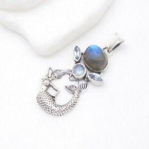 Labradorit-Mondstein-Blautopas-blau-Nixe-Design-Anhaenger-925-Sterling-Silber-neu